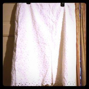 White Laser Floral Skirt